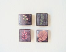 cubicle decor - modern wildflowers - spring flower print - scrabble game piece magnet or thumb tack set - flowers on a wood block prints