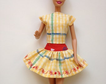 Handmade Barbie Clothes Red Yellow Blue Skirt Top (Q409)
