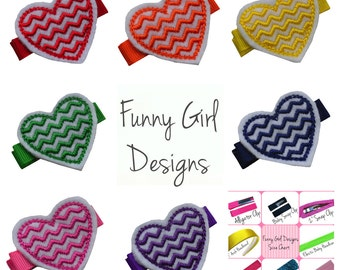 Embroidered Chevron Heart Hair Clip Set & Hair Bow Holder - Includes 7 Clips