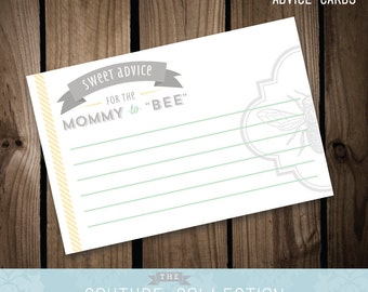 """Advice Cards - Mommy to """"BEE"""" Baby Shower  -  Printable DIY Digital File"""