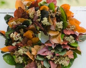 Fall Salal and Herb Wreath, autumn wreath, fall door decor, fragrant wreath, indoor wreath, fall wreath, fall wedding