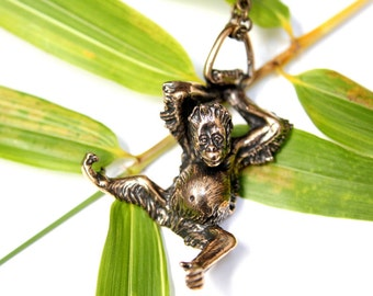 Baby Orangutan Necklace in Solid Bronze Orangutan Pendant  Ape Primate Monkey 405