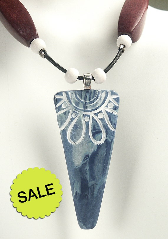 SALE / FREE SHIPPING / Polymer Clay Pendant Necklace featuring Blue Stamped Flower Spear Design