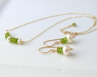 Peridot Gemstone Set, Gold Earrings & Necklace with Pearls, Bar Pendant, August Birthstone, Handmade Artisan Original Design WillOaks Studio