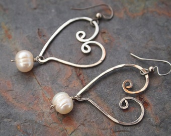 Hand Forged Silver Hearts and Pearl Earrings