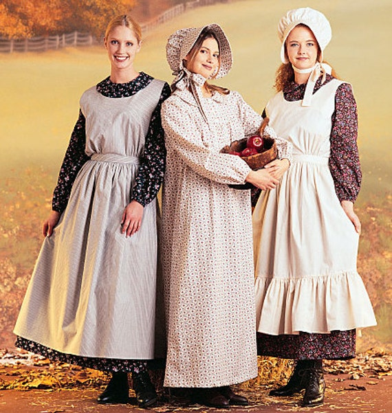 Dress apron bonnet sewing pattern amish little house on the for Laura ingalls wilder wedding dress