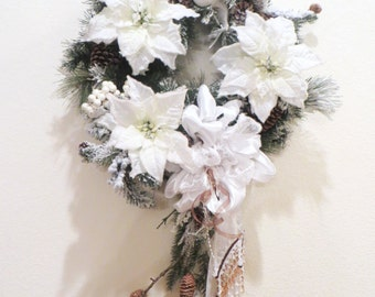 White Christmas Wreath with Snow, Branch, Pinecones and Victorian Beaded Bow