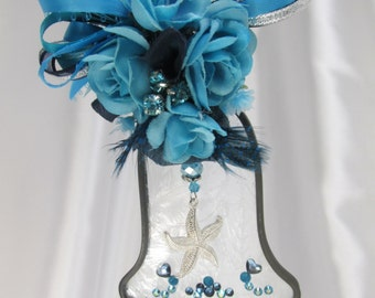 Blue Turquoise Lover of the Sea Frosted Stained Glass Bell Suncatcher or Ornament