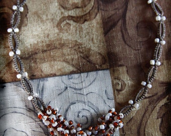 Beaded Handmade Macrame Necklace ~ Macrame Jewelry ~ Cream and Brown ~ Ceramic Bead Pendant