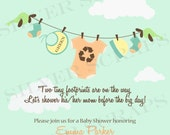 Organic Baby Laundry Line Custom Digital Baby Shower Invitation -Onesie Clothes Recycle Green Teal Brown Orange Peach Yellow Unisex Boy Girl