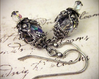 Crystal Bridal Earrings, Medieval, Castle Wedding, Renaissance Jewelry, Ren Faire, Handfasting, Victorian Earrings, Fairytale, Rhiannon