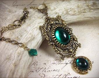 Medieval Necklace, Emerald Jewel, Renaissance Costume, Pendant, Green Jewelry, Ren Faire Bride, Bridesmaid, Tudor Garb, Borgias, GothCath