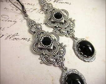 Medieval, Renaissance, Tudor, Black Jewel, Garnet, Medieval Jewelry, Queen, Wedding, Bridesmaid Earrings, SCA, Avalon
