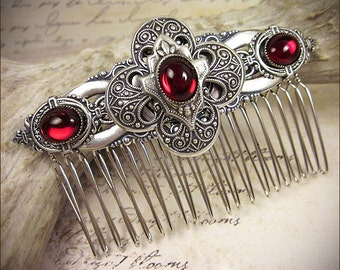 Wedding Comb, Renaissance, Bridal Comb, Tudor, Hair Adornment, Ren Faire, Medieval Jewelry, Garb, Renaissance Wedding, Red, Avebury