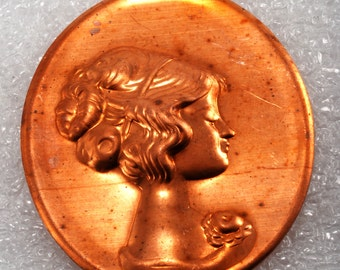 Vintage Cameo Stamping Copper Plated Metal Hollow Back Victorian Lady