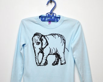 Elephant Long Sleeve Kid's Tee - Light Blue