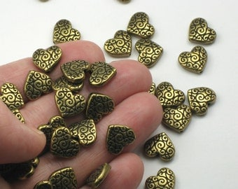 Brass Heart Beads 2 Or More TierraCast Scroll Heart Brass Oxide Plated Lead Free Pewter Detailed 3D Heart Bead Textured Weighty Intricate