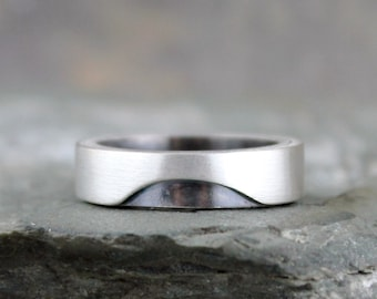 Modern Men's Wedding Band - Sterling Silver - Matte Finish - Commitment Rings - Men's or Ladies - Made in Canada - Geometric Cut Out Design