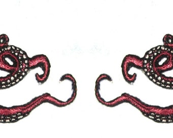 Small  Pair Octopus Iron on Patch in Maroon