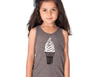 Sale Little Lark's Ice Cream Tank Top - heather brown, gray sleeveless summer shirt, unisex for boys and girls, scream for icecrem, rad gift