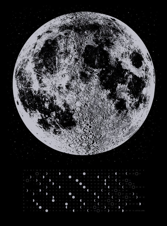 Items similar to 2014 Moon Phases Calendar, 22x30 large ...