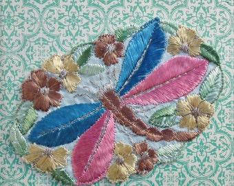 Vintage Applique 1920s 1930s Sew-On Fabric Applique Dragonfly Motif Pink Blue - 20s 30s antique trim copper metallic thread