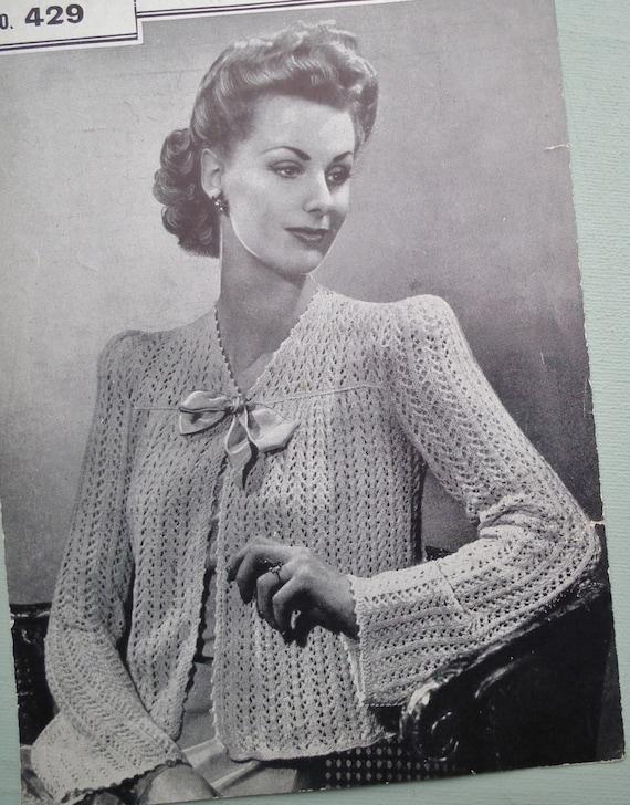 Vintage Knitting Pattern 1940s Womens Bed Jacket Bedjacket