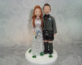 Customized Bride & Groom Scottish Wedding Cake Topper