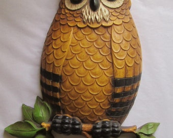 Vintage Plastic Wall Decor Daddy Mommy and Baby Owls Owl
