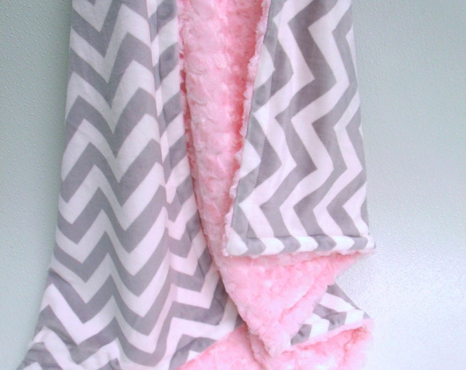Personalized Blanket, Pink and Gray Chevron Blanket, Pink Gray Swaddle Blanket, Pink Chevron Minky Blanket, Chevron Swaddle Blanket