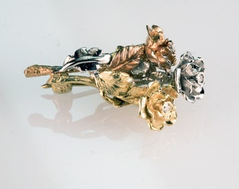 Triple Rose Brooch - made with recycled 18K gold