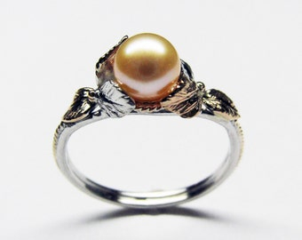 Pink Pearl Ring - in 14K White & Rose Gold