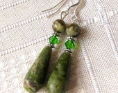 Connemara Marble Earrings. Rare Irish Stone & Swarovski Crystals. Emerald Lighthouses