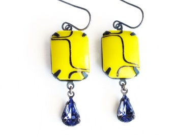 Neon Yellow Earrings Art Deco Earrings Vintage Bright Yellow Glass Earrings Chunky Yellow Purple Jewelry Summer