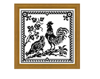 Rooster- cross stitch, filet crochet pattern. Instant download PDF