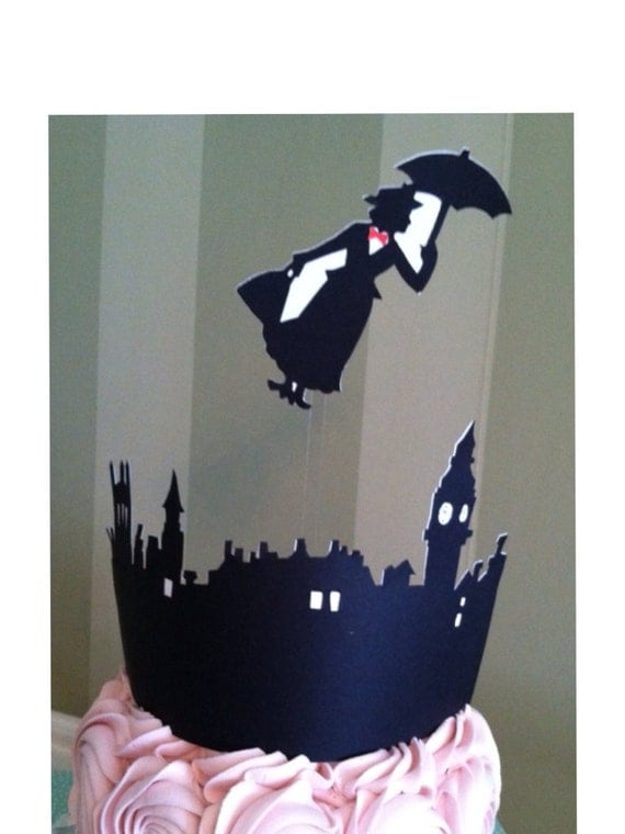 Mary Poppins Wedding or Birthday Cake Topper Silhouette Hand