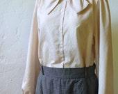 Ecru Blouse - M - Vintage Long-Sleeve Lightweight Top