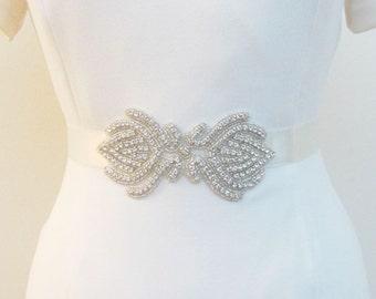 Beaded Bridal Wedding Rhinestones Sash Belt with  crystal beads