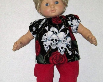 Bitty Baby American Girl Doll Clothes Skull and Rose Set  and Shoes  Black and Red 15 16 inch Doll