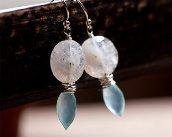Quartz and Blue Chalcedony, Blue and White Semi Precious Stone, Wire Wrapped Earrings