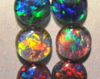 1 Australian Opal Triplet gemstone cabochon - Opal cabs - 5 mm round diameter - circle - genuine Coober Pedy fire Opal black Opal natural