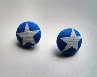 Bold White Star on Blue Fabric Button Ear Studs