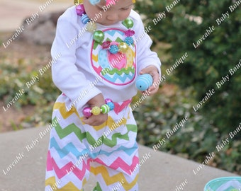 Easter Chevron Easter Egg Yellow Green Pink Aqua Embroidered Shirt 0-3,  3-6, 6-12, 12-18, 18, 24 month 2T 4T 6T