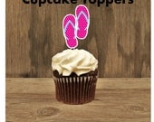 Beach Party Collection - Set of 12 Fushia Flip Flop Cupcake Toppers by The Birthday House