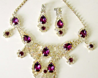 Vintage Amethyst Rhinestone Bib Necklace Round Pear Amethyst Dangle Earrings Set Bridal Jewelry