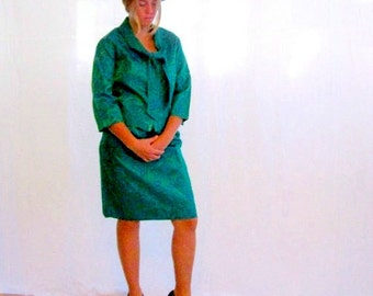Vintage 1960s Suit Jackie Kennedy 60s Mod Green and Blue Damask Skirt Suit