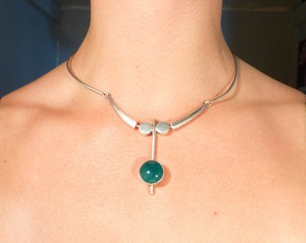 Vintage Israel Sterling Abstract Modern Necklace with Green Onyx Accent