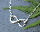 Infinity Sign Sterling Silver Necklace with real diamond accent - fancy chain - free shipping USA - Eternal - Endless - Forever - Love