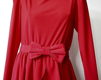 Vintage Red Peplum Dress with Bow Belt