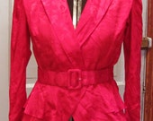 WOW Smexy Crimson Silk Belted Blouse Vintage 1980's
